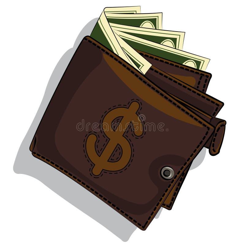 Lederne Geldbörse vektor abbildung
