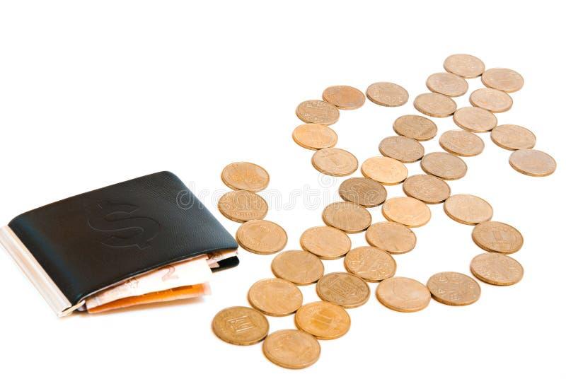 Lederne Geldbörse mit Geld mit Dollarzeichen stockbild
