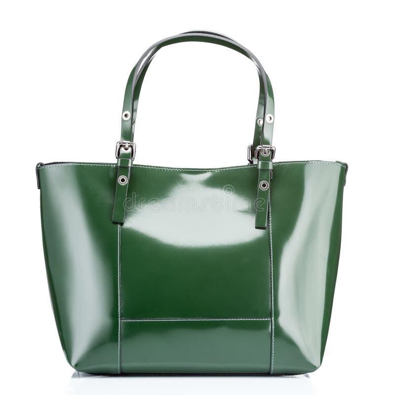 Lederne grüne Luxustasche mit Reißverschluss in der Tasche für Frauen lizenzfreie stockbilder