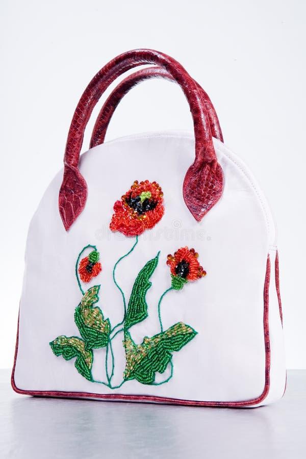Lederne Handtasche der Frau. Handgemacht stockbild