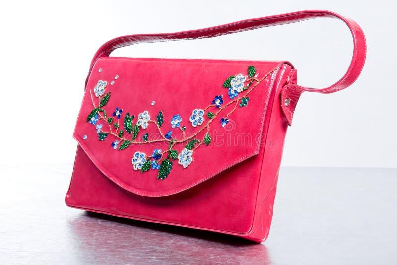 Lederne Handtasche der Frau. Handgemacht lizenzfreies stockbild
