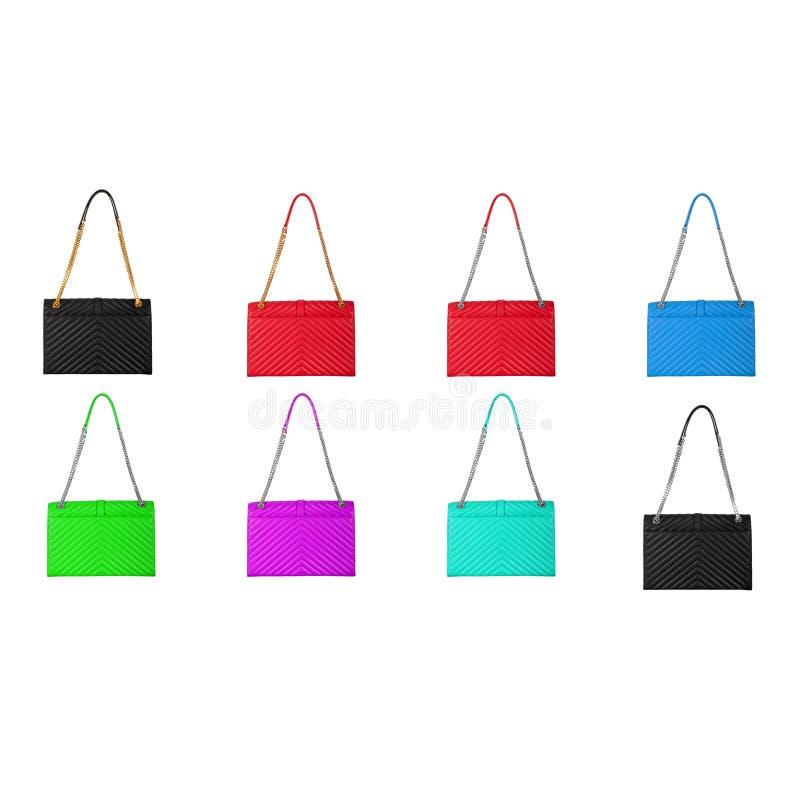Lederne helle mehrfarbige Frauen ` s Taschen stockfotografie