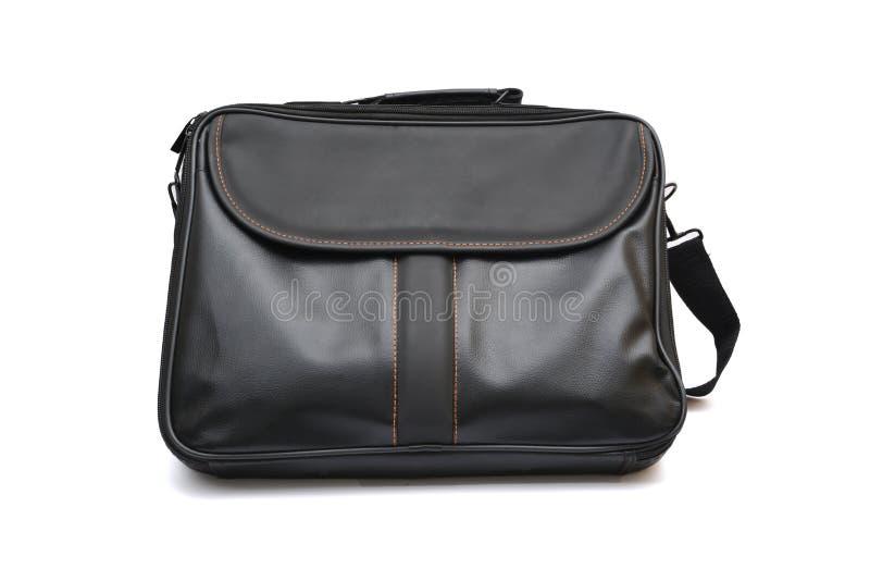 Lederne Laptoptaschenschwarzfarbe auf weißem Hintergrund stockfotografie
