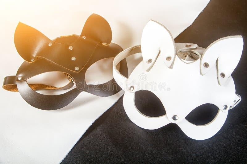 Lederne Masken der Nahaufnahme stockfoto