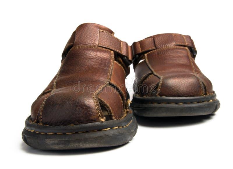 Lederne Schuhe des alten Mannes für Sommer lizenzfreie stockfotografie