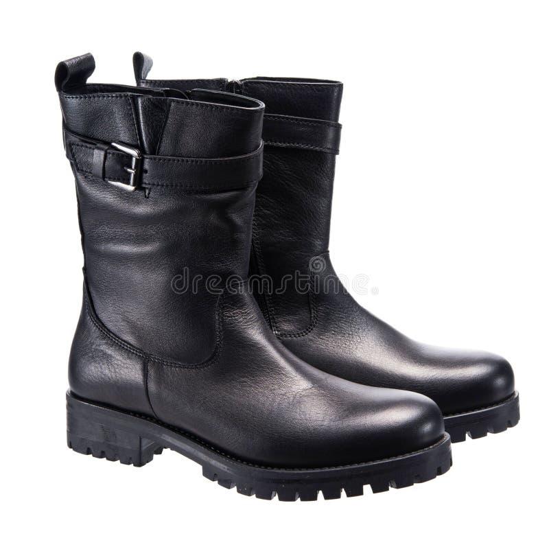 Lederne schwarze Stiefel lizenzfreie stockfotografie
