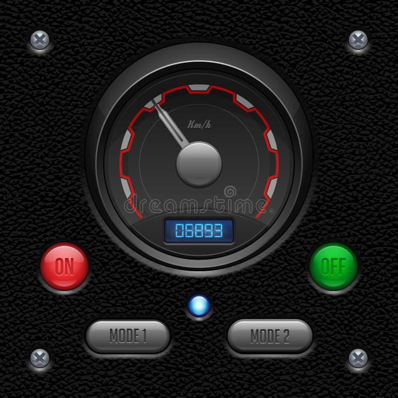 Lederne UI-Anwendersoftware-Kontrollen eingestellt Schalter, Knopf, Lampe lizenzfreie abbildung