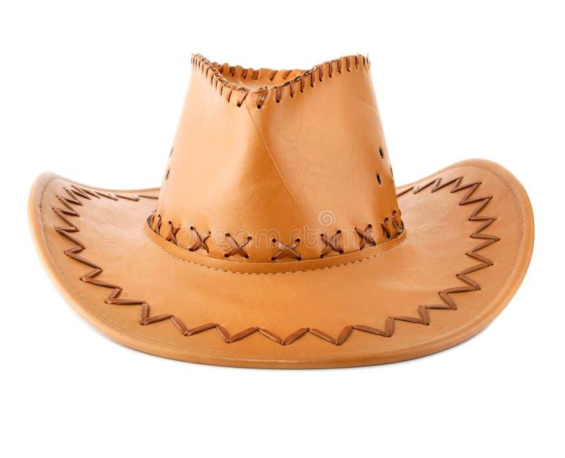 Lederner Hut des Cowboys getrennt lizenzfreie stockfotografie