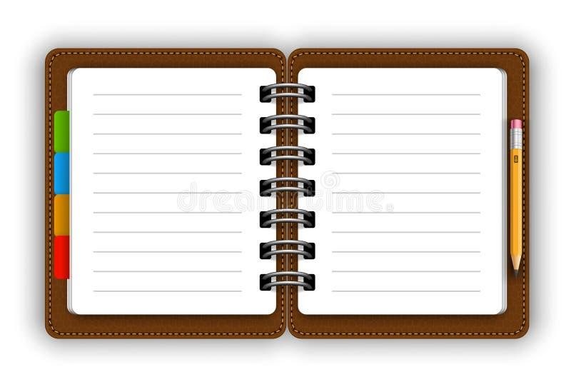 Lederner Notizblock lizenzfreie abbildung