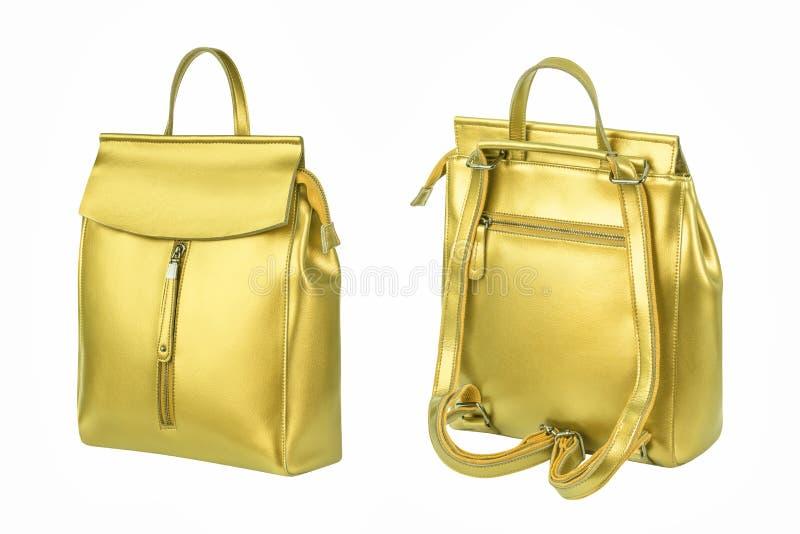 Lederner Rucksack der Frauen Goldlokalisiert auf weißem Hintergrund lizenzfreies stockfoto