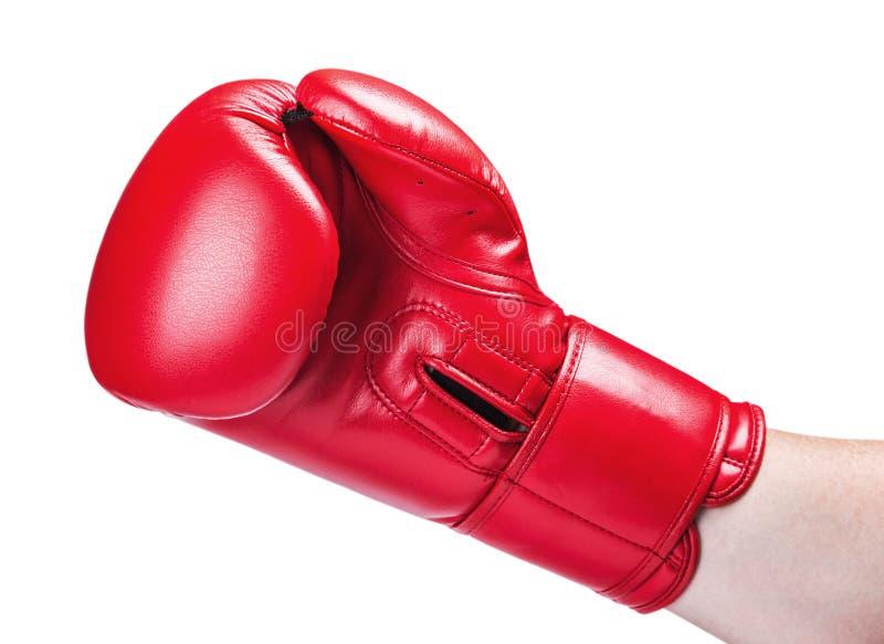 Ledernes Boxhandschuhrot lokalisiert auf Weiß stockfotografie