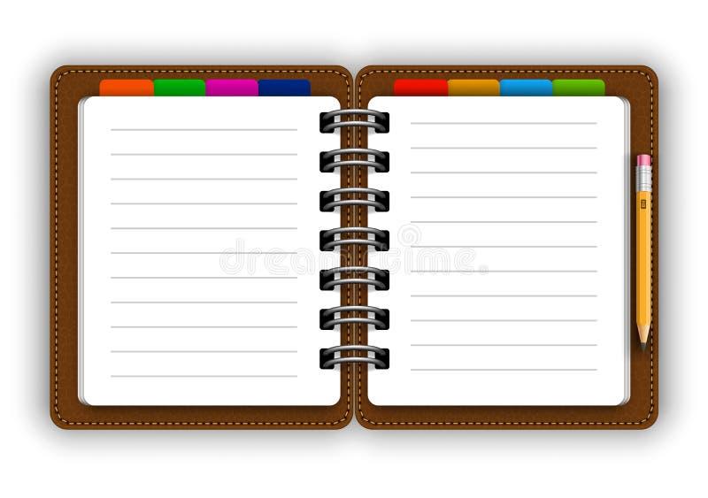 Ledernes Notizbuch vektor abbildung