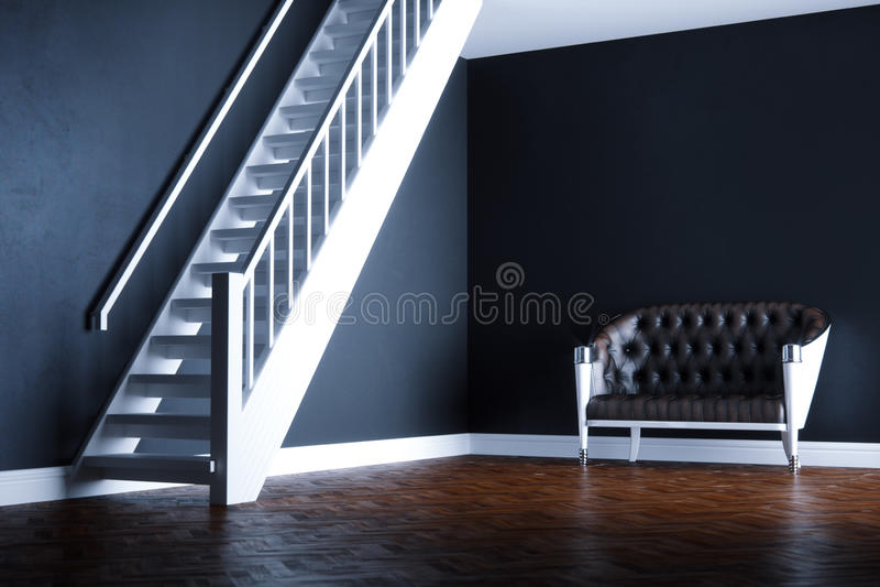 Ledernes Sofa der Weinlese im neuen schwarzen Innenraum auf hölzernem Parkett flo vektor abbildung