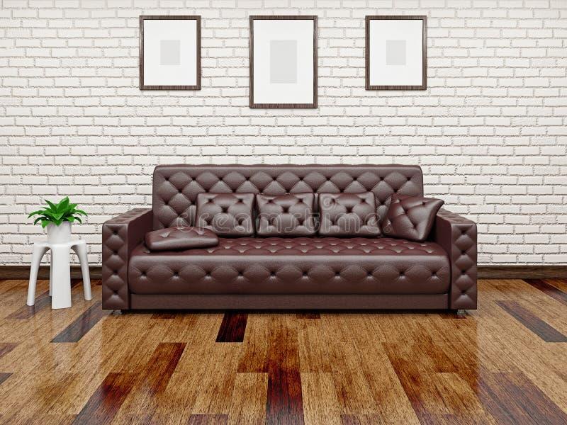 Ledernes Sofa nahe der Wand lizenzfreie abbildung