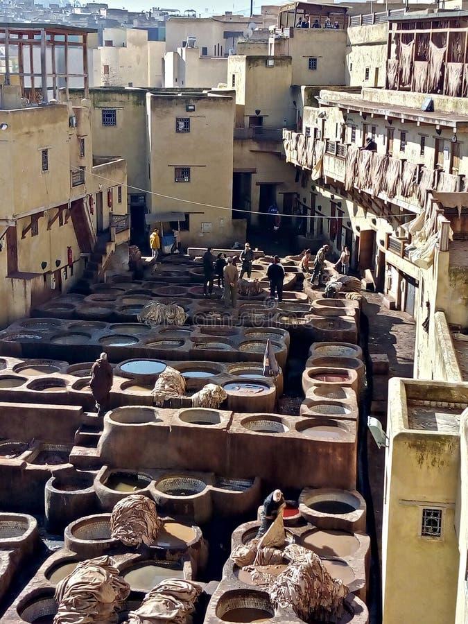 Ledertannerien in Fez stockbild