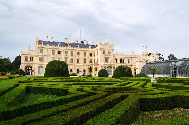 Tourists in front of the Lednice castle mansion in Lednice Valtice area, Czech Republic royalty free stock image