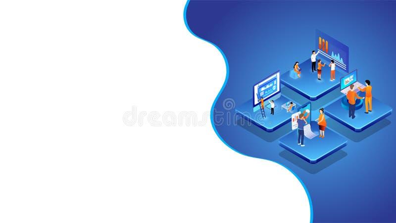 Ledning för data för analys för affärsfolk i den olika plattformen för teamworkbegrepp baserade isometrisk design vektor illustrationer