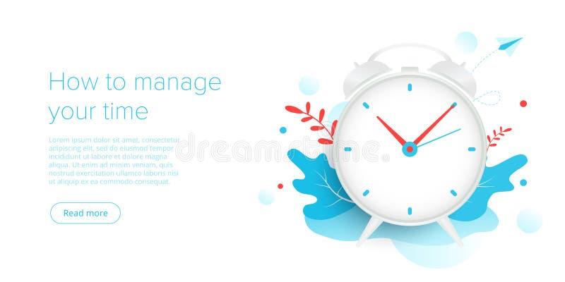 Ledning för effektiv tid i plan vektorillustration Folkarbete och uppgift som prioriterar organisationen för effektivt stock illustrationer