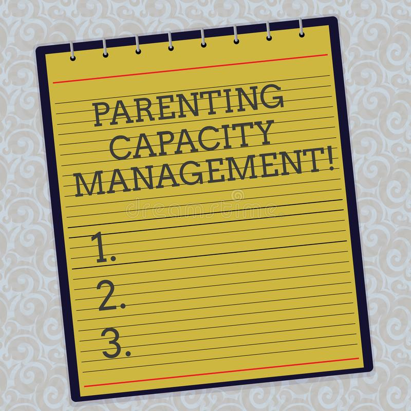 Ledning för kapacitet för handskrifttextbarnuppfostran Begrepp som betyder förälderkapacitet att skydda barn från den fodrade ris vektor illustrationer