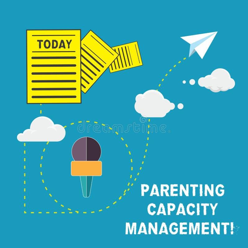Ledning för kapacitet för handskrifttextbarnuppfostran Begrepp som betyder förälderkapacitet att skydda barn från risk royaltyfri illustrationer