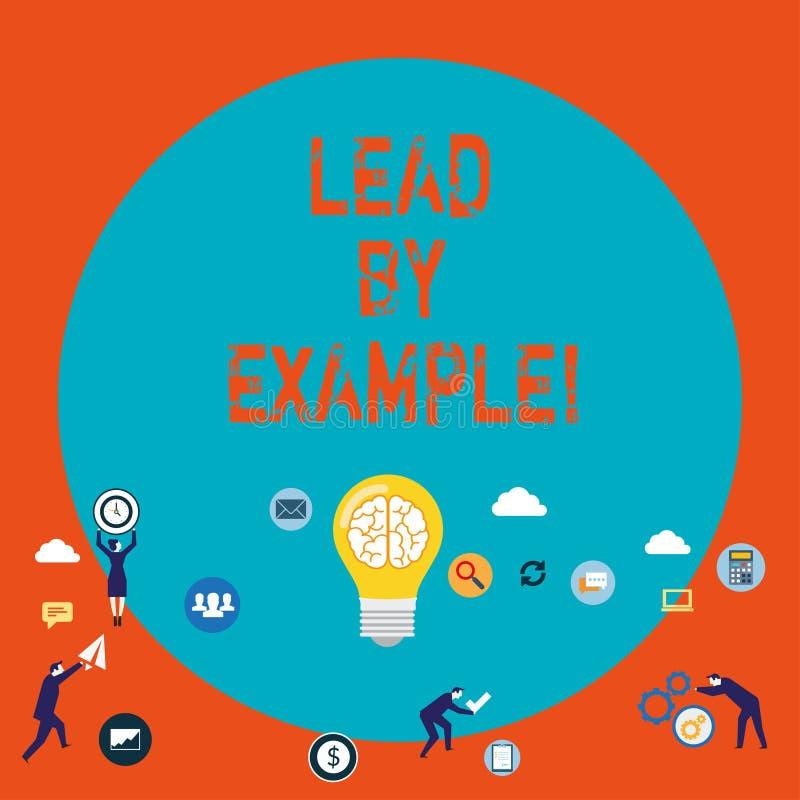 Ledning för ordhandstiltext vid exempel Affärsidé för organisation för ledarskapledningmentor royaltyfri illustrationer