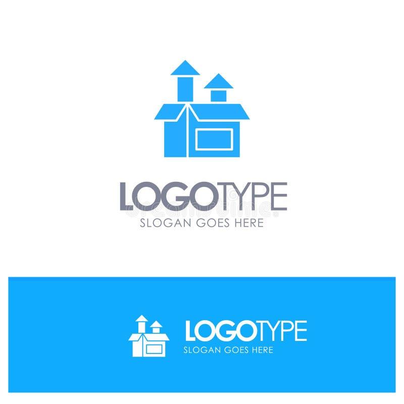 Ledning metod, kapacitet, blå fast logo för produkt med stället för tagline stock illustrationer