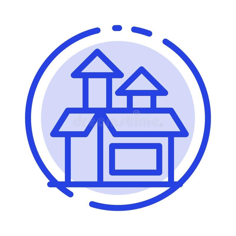 Ledning metod, kapacitet, blå prickig linje linje symbol för produkt royaltyfri illustrationer