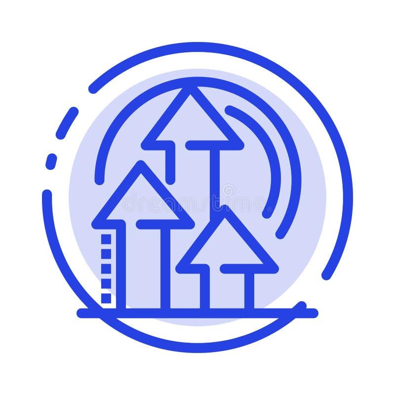 Ledning metod, kapacitet, blå prickig linje linje symbol för produkt vektor illustrationer