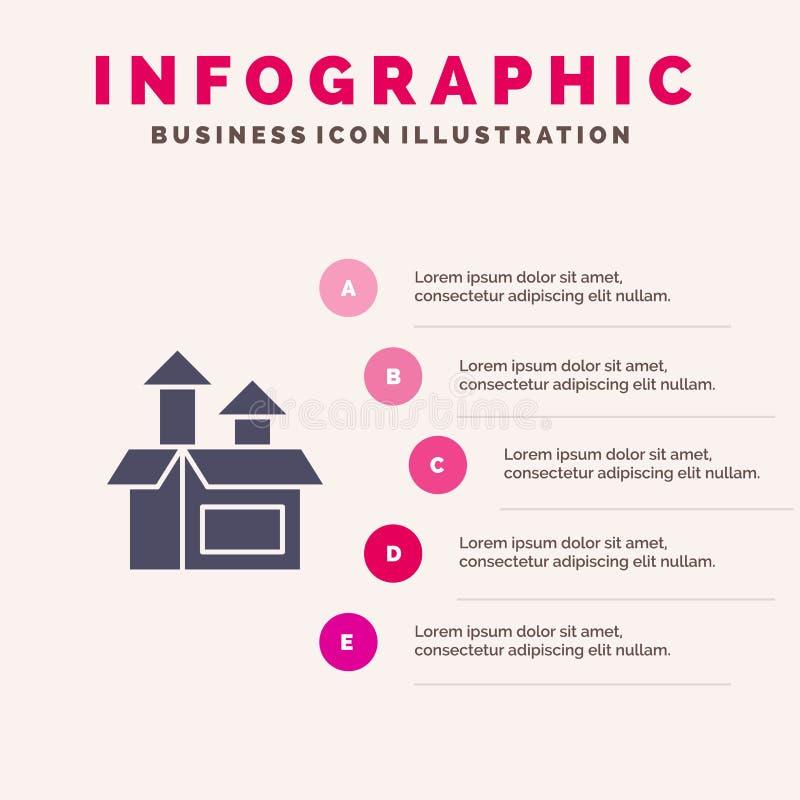 Ledning metod, kapacitet, för symbolsInfographics 5 för produkt fast bakgrund för presentation moment royaltyfri illustrationer