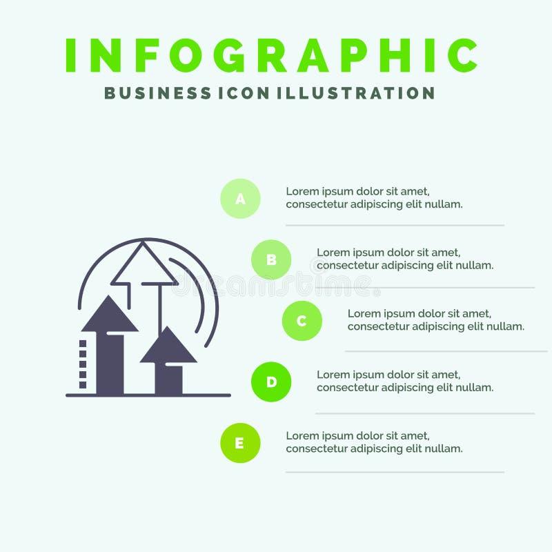 Ledning metod, kapacitet, för symbolsInfographics 5 för produkt fast bakgrund för presentation moment vektor illustrationer