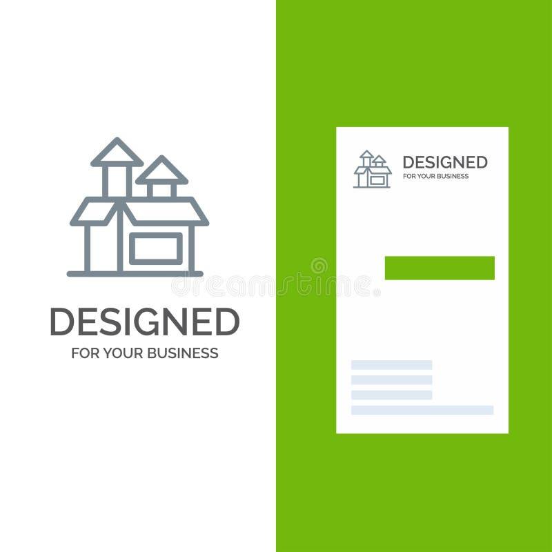 Ledning, metod, kapacitet, produkt Grey Logo Design och mall för affärskort royaltyfri illustrationer