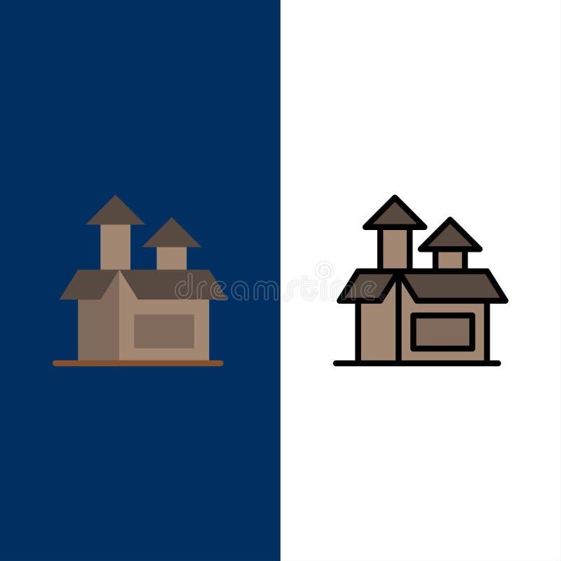 Ledning metod, kapacitet, produktsymboler Lägenheten och linjen fylld symbol ställde in blå bakgrund för vektorn vektor illustrationer