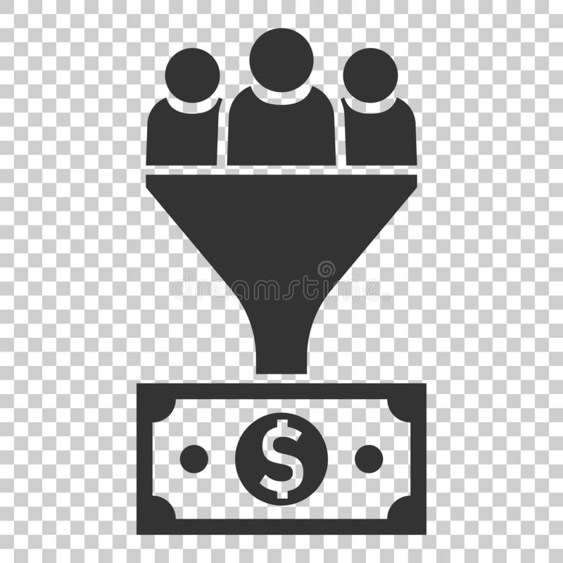 Ledningsledningsymbol i plan stil Tratt med folk, pengar ve stock illustrationer