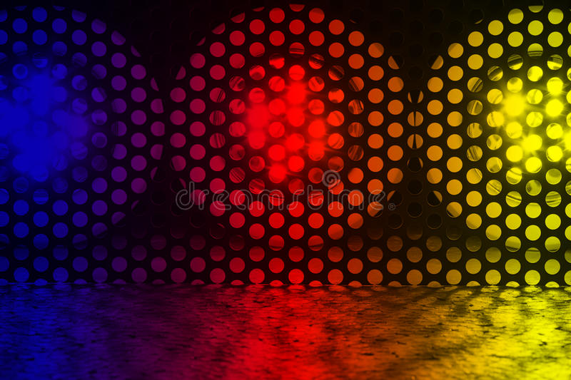 LEDs. Three bright LED lights are behind a lattice stock images