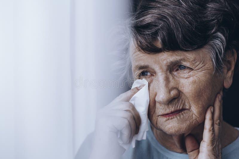 Ledsen äldre kvinna som torkar revor arkivfoton