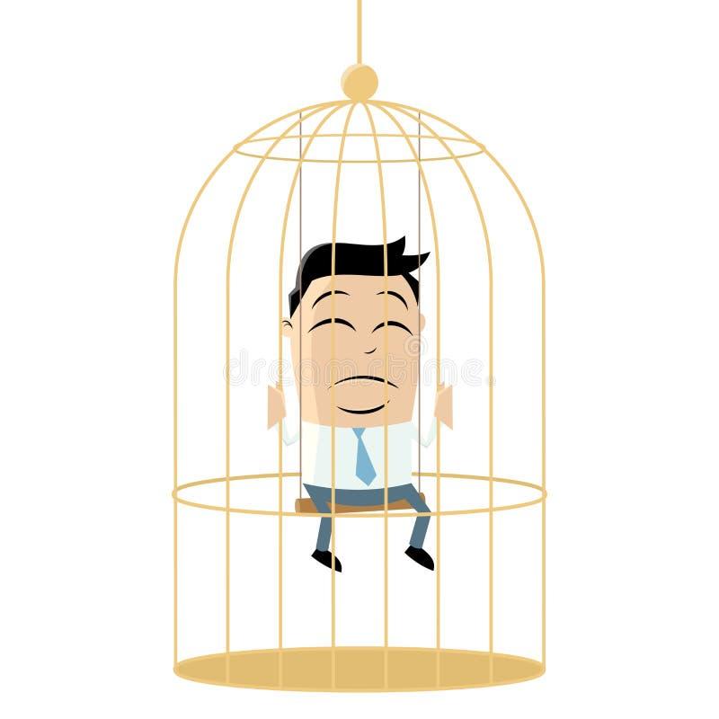 Ledsen affärsman i fågelbur stock illustrationer