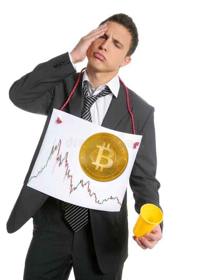 Ledsen affärsman som investerar i Bitcoin BTC arkivfoton