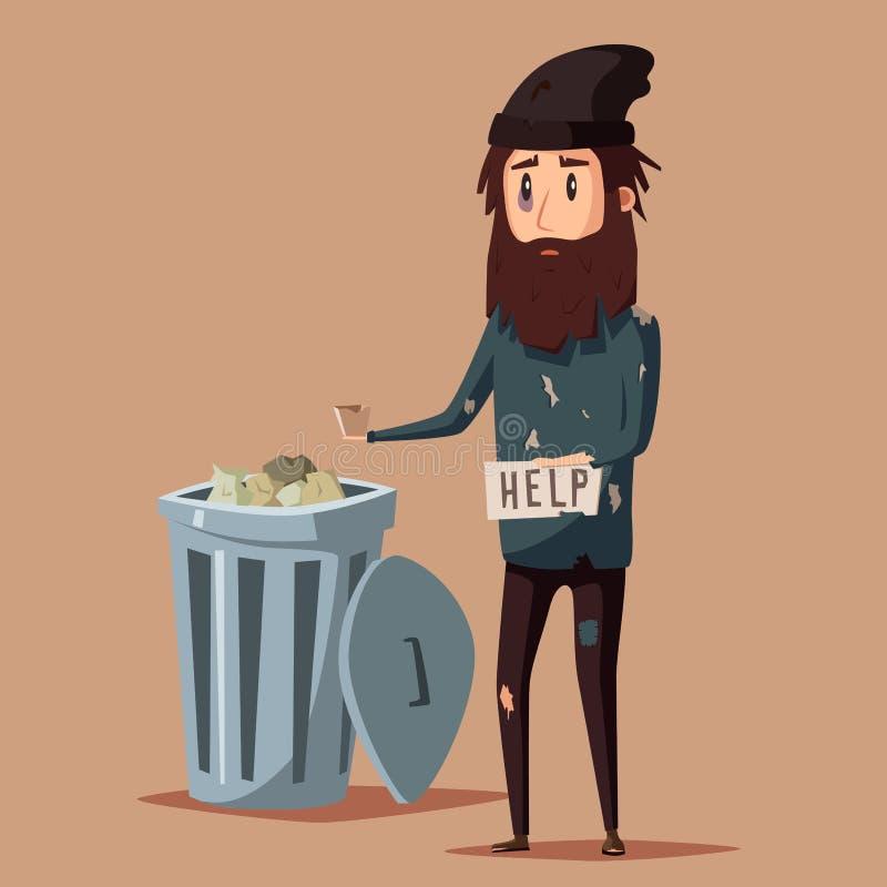 Ledsen arbetslös tiggare den främmande tecknad filmkatten flyr illustrationtakvektorn royaltyfri illustrationer
