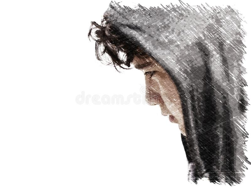 Ledsen besvärad tonåring för skolapojke som bär en hoodie som poserar och tänker i hans egna tankar - nära övre kol skissar med k stock illustrationer