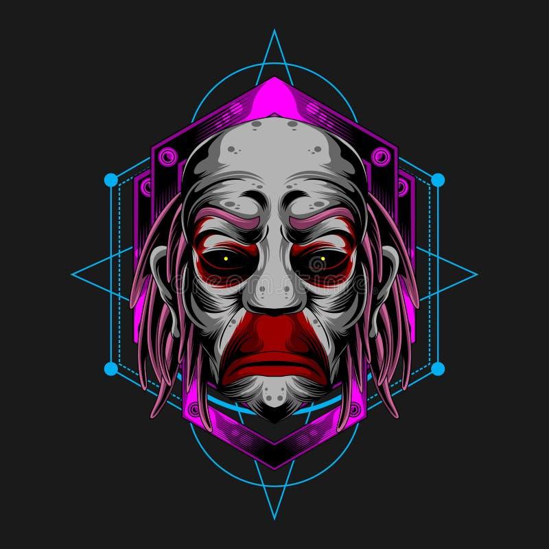 Ledsen clown Face vektor illustrationer