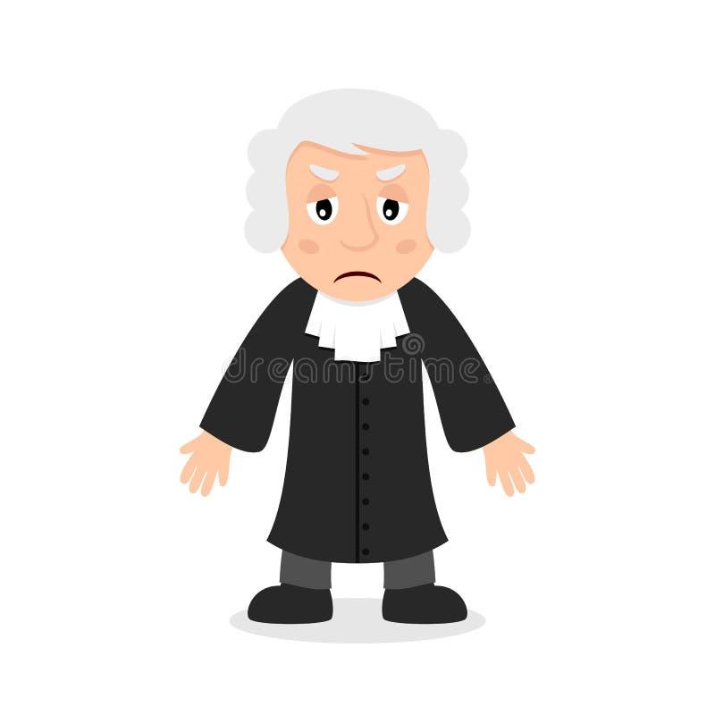 Ledsen domare Cartoon Character stock illustrationer