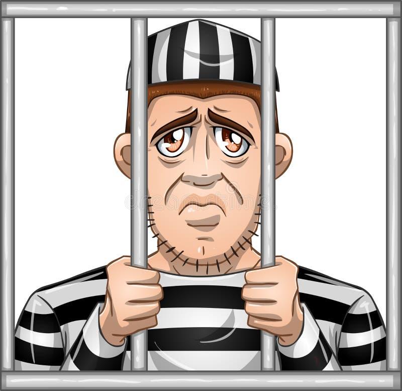 Ledsen fånge bak stänger vektor illustrationer