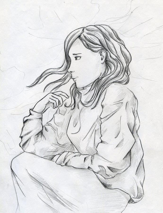 Ledsen flicka royaltyfri illustrationer