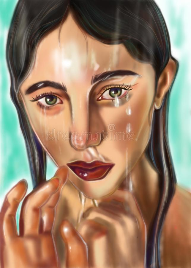 Ledsen flicka under vrdoy royaltyfri illustrationer