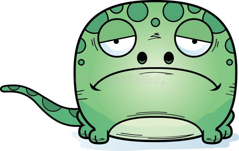 Ledsen gecko för tecknad film stock illustrationer