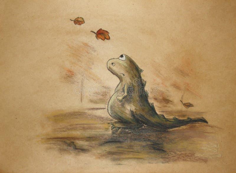 Ledsen grön dinosaurie royaltyfri illustrationer