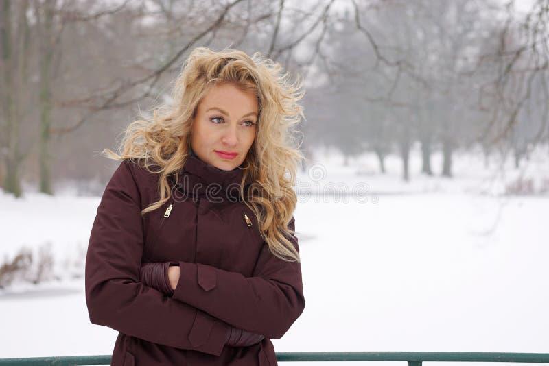 Ledsen kvinna i snö täckt vinterlandskap arkivfoton