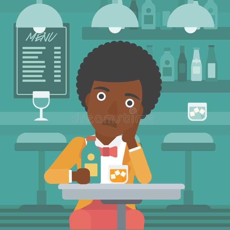 Ledsen kvinna med flaskan och exponeringsglas vektor illustrationer