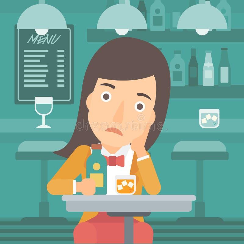 Ledsen kvinna med flaskan och exponeringsglas stock illustrationer