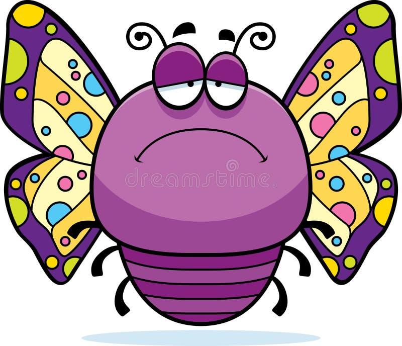 Ledsen liten fjäril stock illustrationer